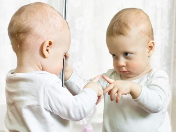 O bebe e o espelho ele se reconhece